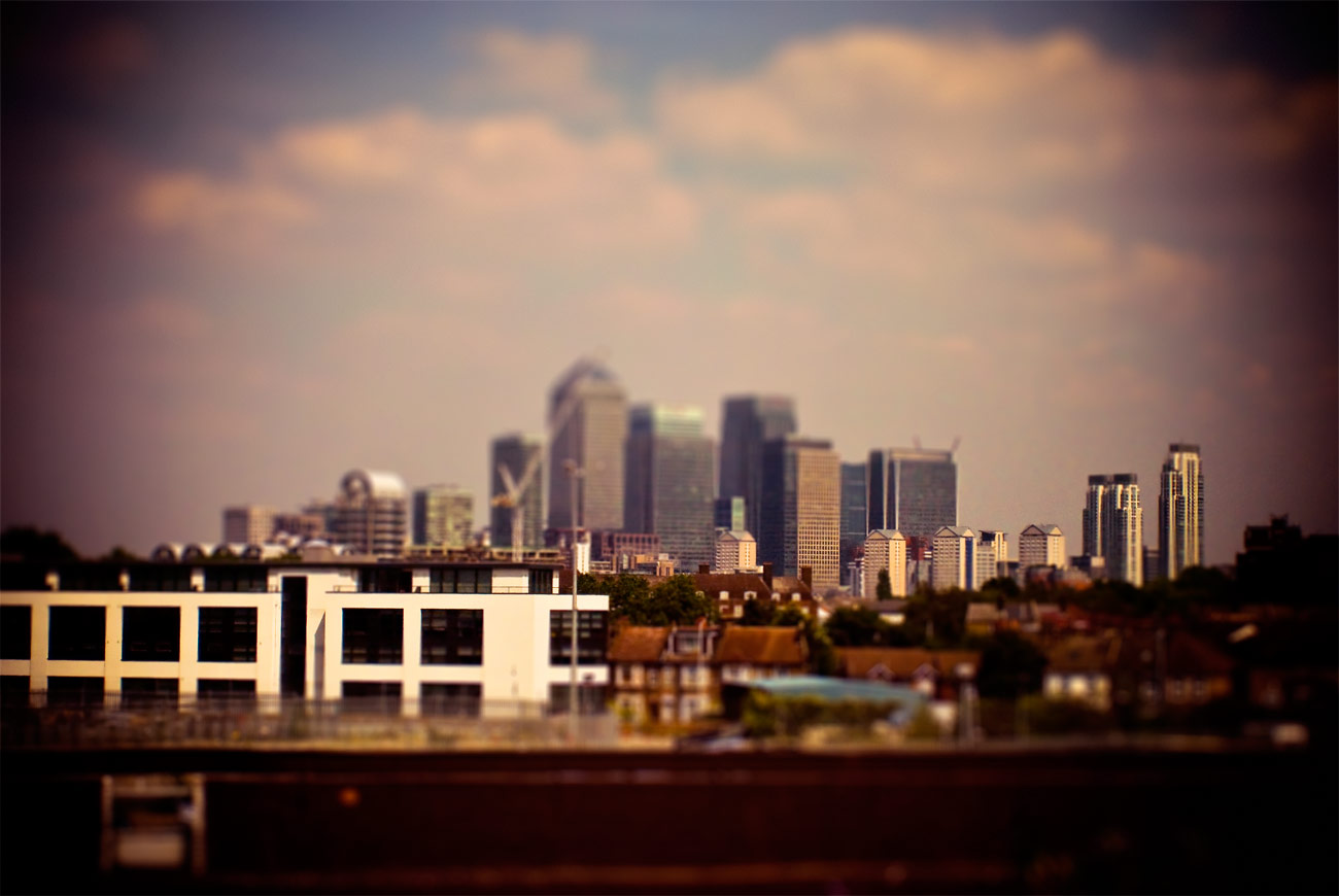 ICMSTUDIOS - A photo of the London skyline from my train seat. Tweaking done in Photoshop.